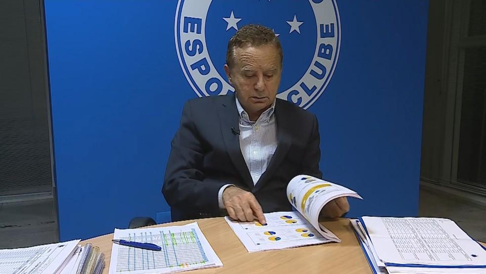 """Vittorio Medioli, CEO do Cruzeiro, com """"Plano de Gestão"""" ignorado por antiga diretoria — Foto: Reprodução/TV Globo"""