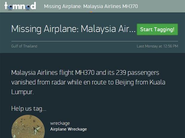 Voluntários vasculham imagens de satélite em buscas de pistas do voo MH370 (Foto: Reprodução/DigitalGlobe)