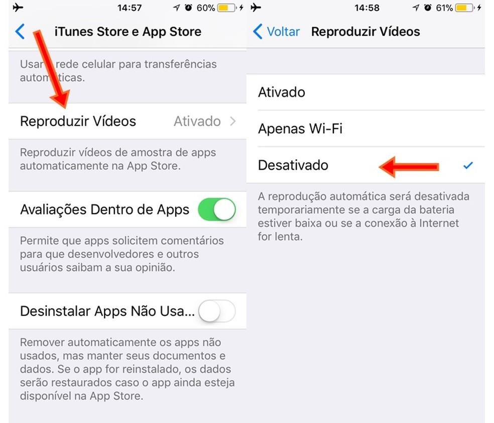 Desative o autoplay em vídeos da App Store no iOS 11 (Foto: Reprodução/Carolina Ribeiro)