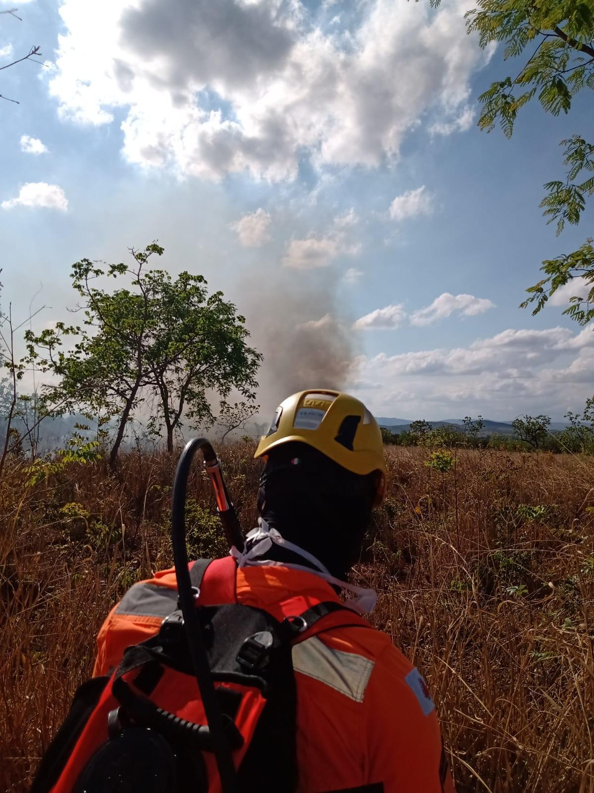 Bombeiros combatem incêndio em área de vegetação em Bocaiuva; chamas podem ter sido provocadas por fogos de artifício