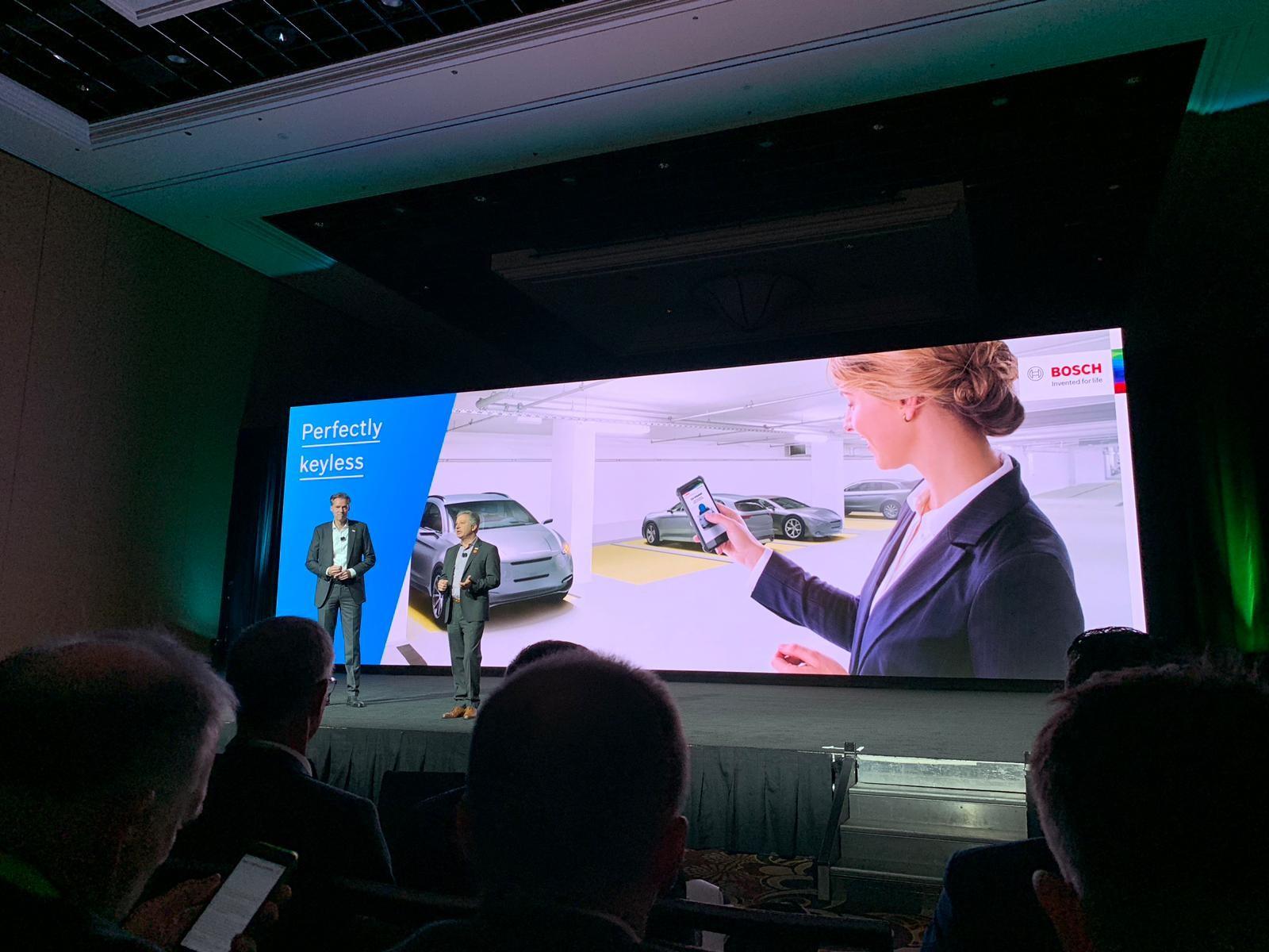 Bosch anuncia carro que pode ser ligado por aplicativo, durante a CES 2019 (Foto: Natasha De Caiado Castro )