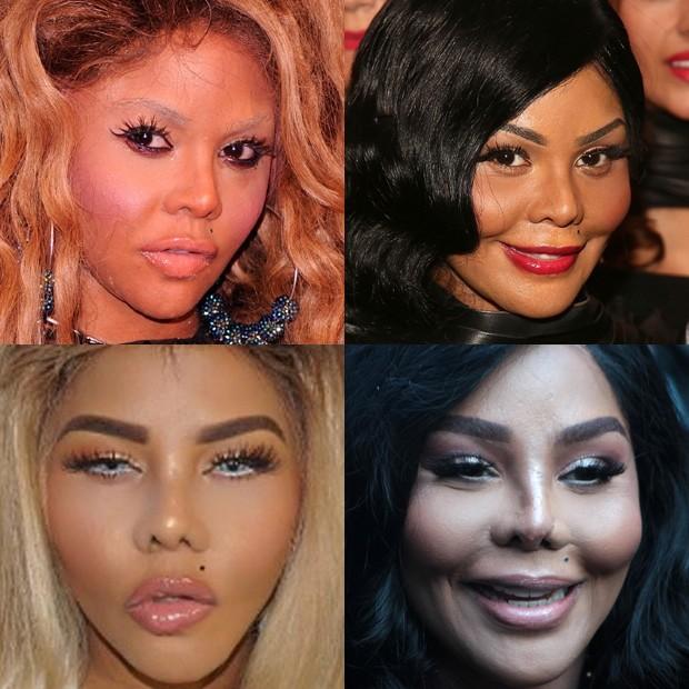 Sentido horário: Lil' Kim em 2012, 2013, em maio de 2017 e em junho de 2018 (Foto: Getty Images e BackGrid)
