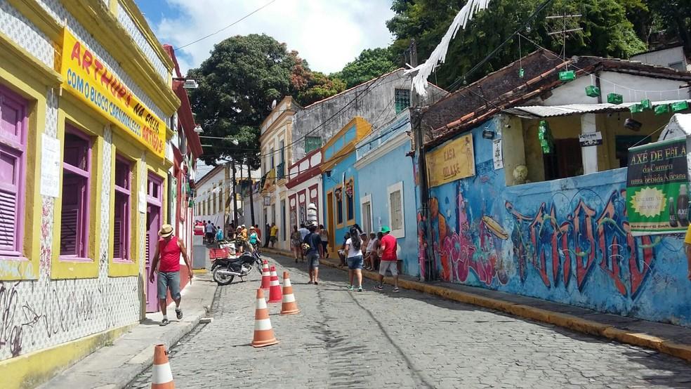Ruas do Sítio Histórico de Olinda ficarão fechadas para veículos  a partir do sábado de carnaval, dia 10 de fevereiro (Foto: Penélope Araújo/G1)