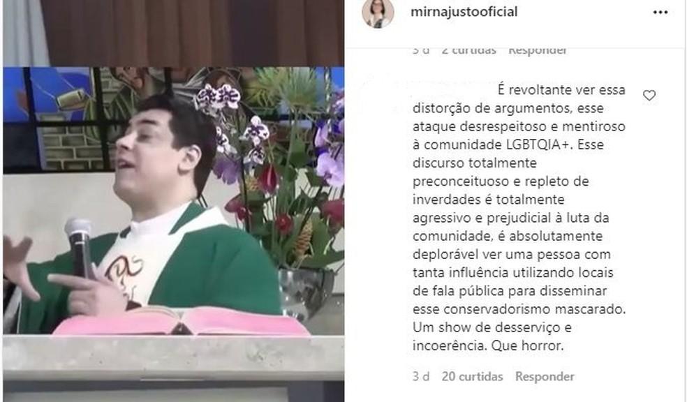 Durante a fala a vereadora de Lençóis Paulista exibiu o vídeo de um padre de Divinópolis que foi aconselhado pela Diocese a se retratar — Foto: Instagram / Reprodução