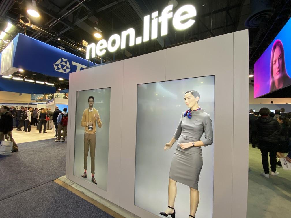 Assistentes virtuais da Neon, exibidos na CES — Foto: Thiago Lavado/G1