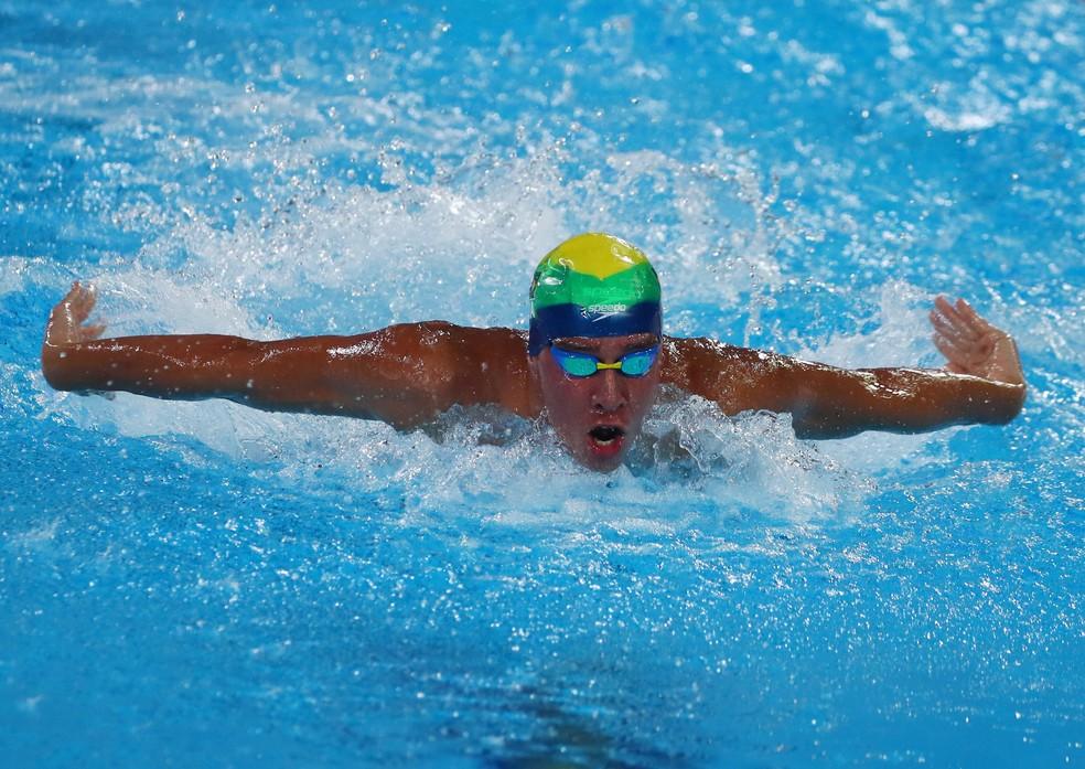 Brandonn Almeida na final dos 400m medley — Foto: REUTERS/Pilar Olivares