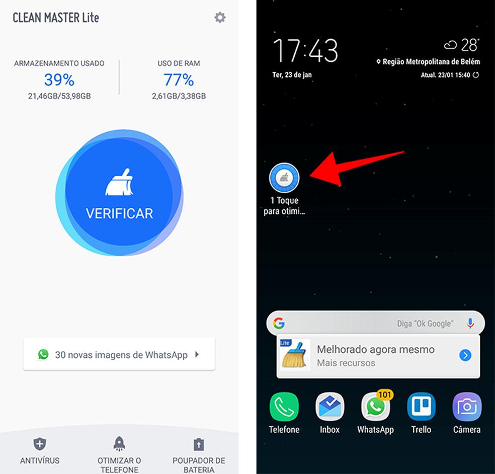 Se for limpar a RAM, use um app leve como o Clean Master Lite (Foto: Reprodução/Paulo Alves)