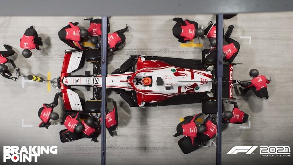 Os boxes e pit stop são muito realistas em F1 2021 — Foto: Divulgação/EA