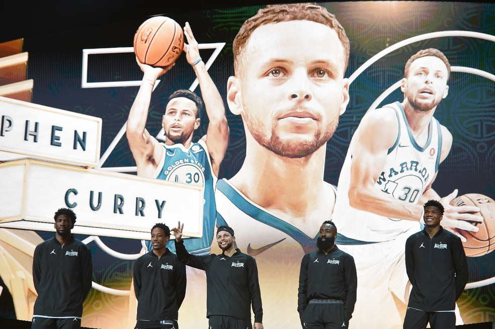Stephen Curry no All-Star Game 2018 — Foto: Kevork Djansezian/Getty Images