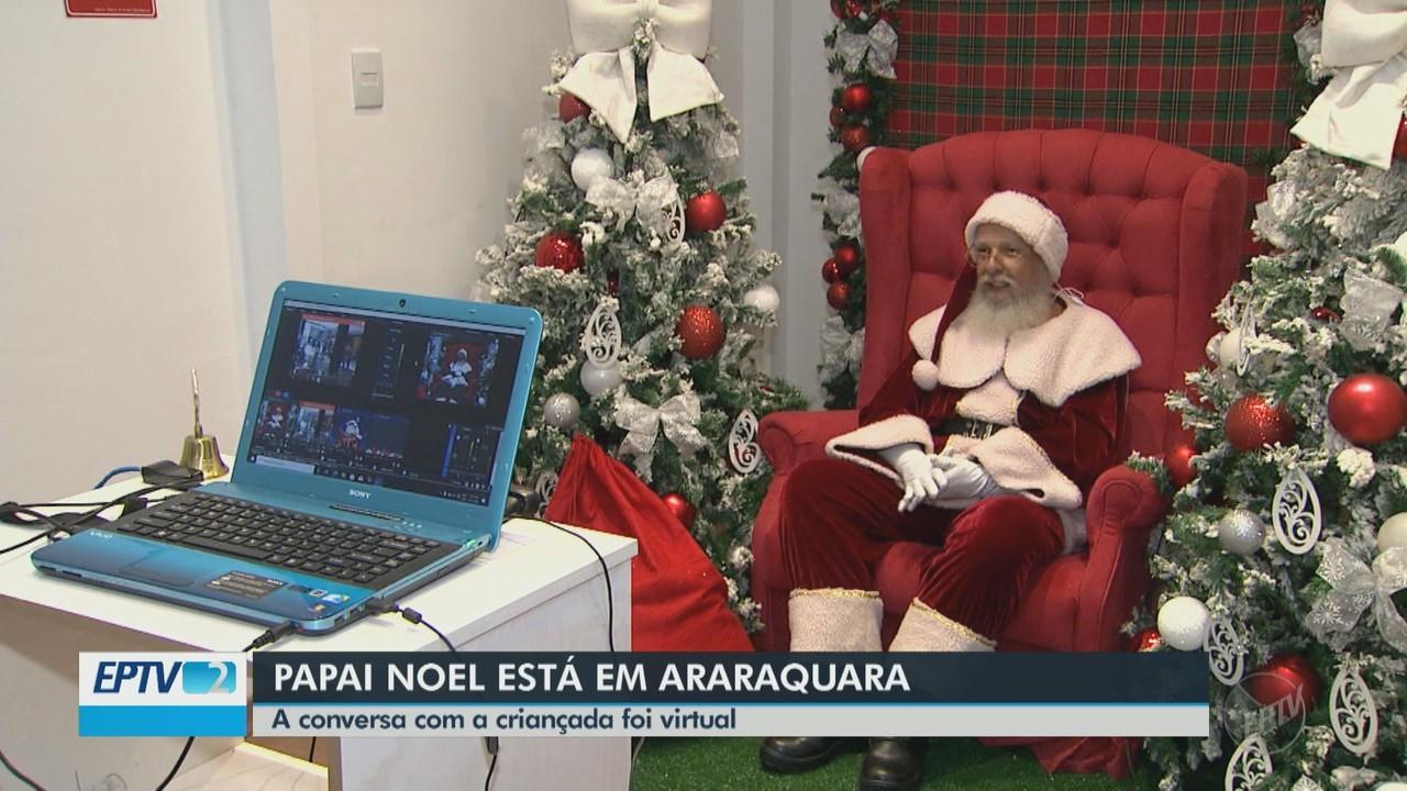 Papai Noel conversa virtualmente com as crianças em Araraquara por conta da Covid-19