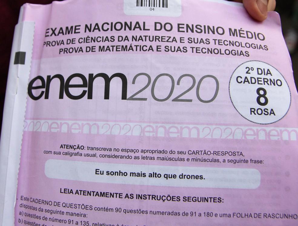 Caderno de provas do Enem — Foto: RONALDO SILVA/FUTURA PRESS/FUTURA PRESS/ESTADÃO CONTEÚDO