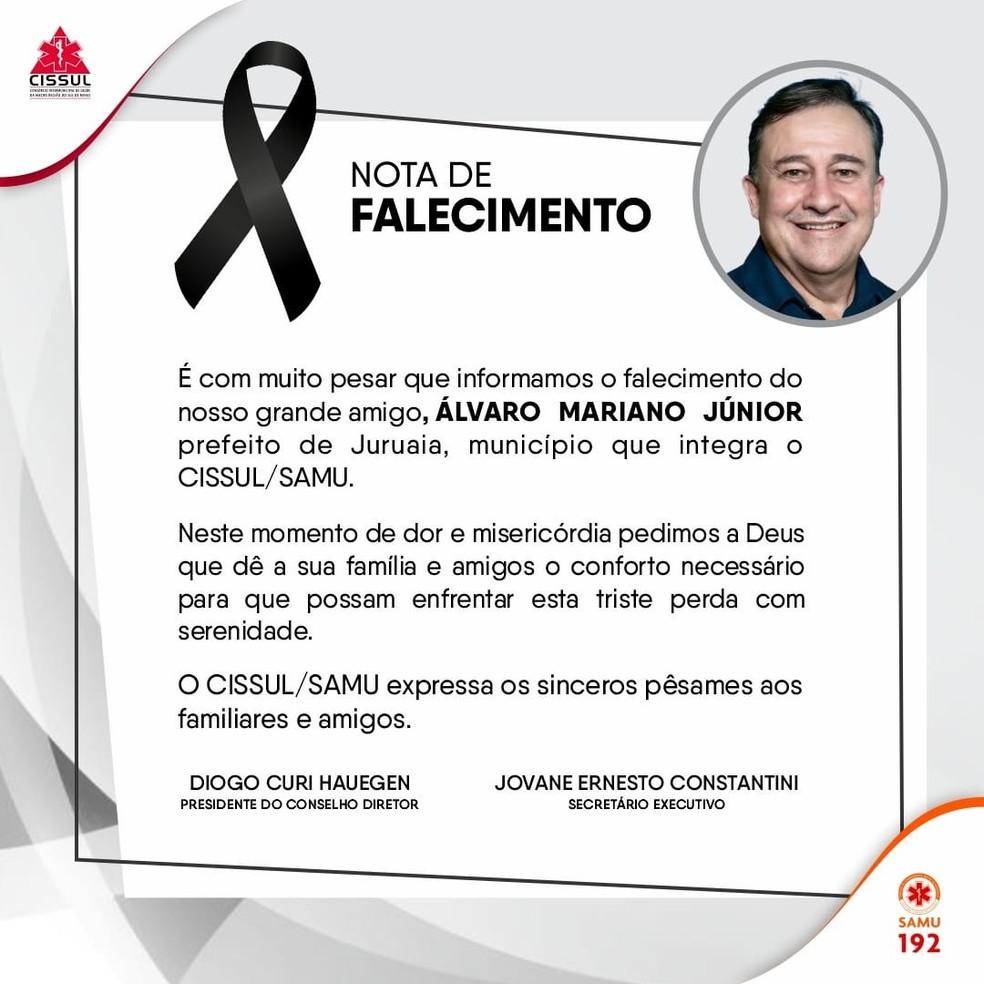 Nota publicada nas redes sociais do Samu sobre a morte do Prefeito de Juruaia  — Foto: Redes Sociais