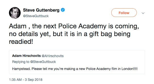 A novidade revelada por Steve Guttenberg sobre o próximo Loucademia de Polícia (Foto: Twitter)