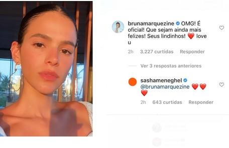 Bruna Marquezine comentou sobre a oficialização da união Reprodução
