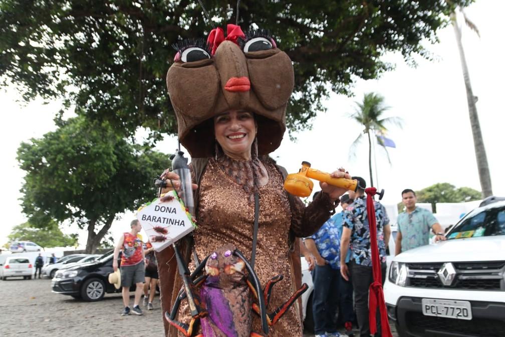 Dona Baratinha participa do desfile do Galo da Madrugada, no Recife — Foto: Aldo Carneiro/Pernambuco Press