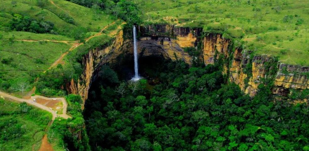 Cachoeira no Parque Nacional da Chapada dos Guimarães, no Mato Grosso — Foto: ICMBIO