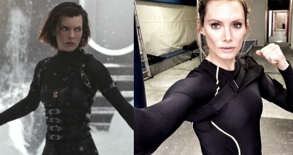 Milla Jovovich e a dublê Olivia Jackson (Foto: Reprodução/Instagram)