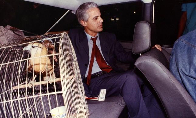 Roberto Medina na noite em que foi libertado, com o gavião que ganhou de Maurinho