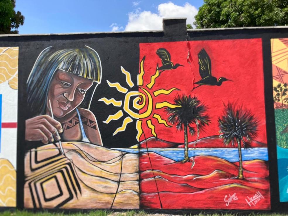 Obra de artista local no muro do Parque Rio Branco — Foto: Polyana Girardi/G1 RR
