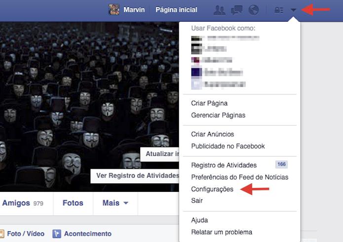 Acessando as configurações do Facebook (Foto: Reprodução)