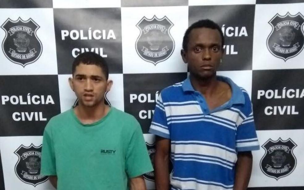 Presos suspeitos de roubar e matar idosa achada vendada, amordaçada e com membros amarrados, em Caldas Novas, em Goiás, nesta quarta-feira (28) (Foto: Polícia Civil/Divulgação)