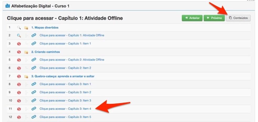 Ação para abrir conteúdos de uma disciplina em cursos do site Brasil Mais Digital — Foto: Reprodução/Marvin Costa