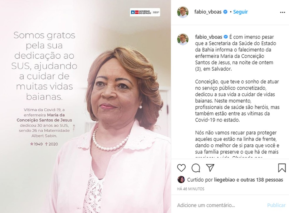 Enfermeira diretora da maternidade Albert Sabin morre em decorrência da Covid-19 — Foto: Reprodução/Instagram