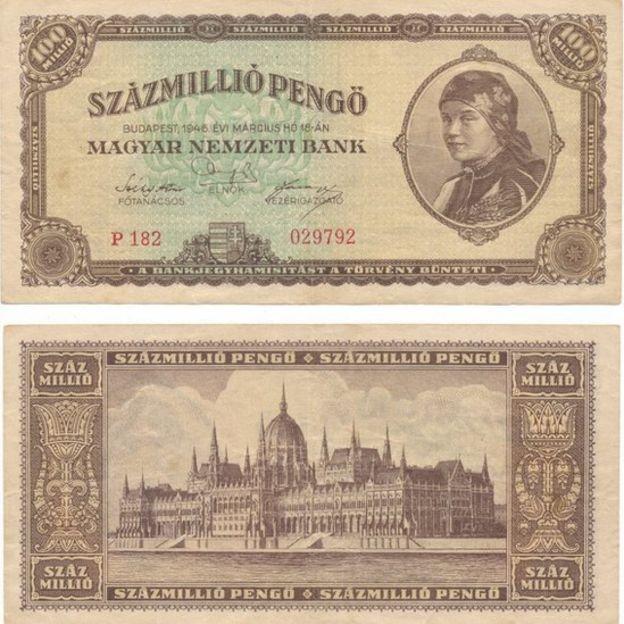 100 milhões de pengős húngaros tinham um valor ínfimo em 1946. (Foto: Reuters via BBC)