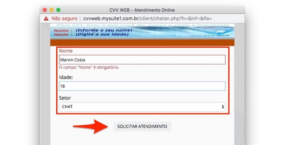 Ação para digitar informações pessoais e acessar o atendimento por chat no site do Centro de Valorização da Vida — Foto: Reprodução/Marvin Costa