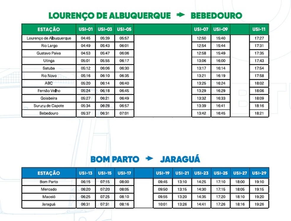Horários de trens e VLTs partindo de Lourenço de Albuquerque e do Bom Parto, de segunda a sexta — Foto: Reprodução
