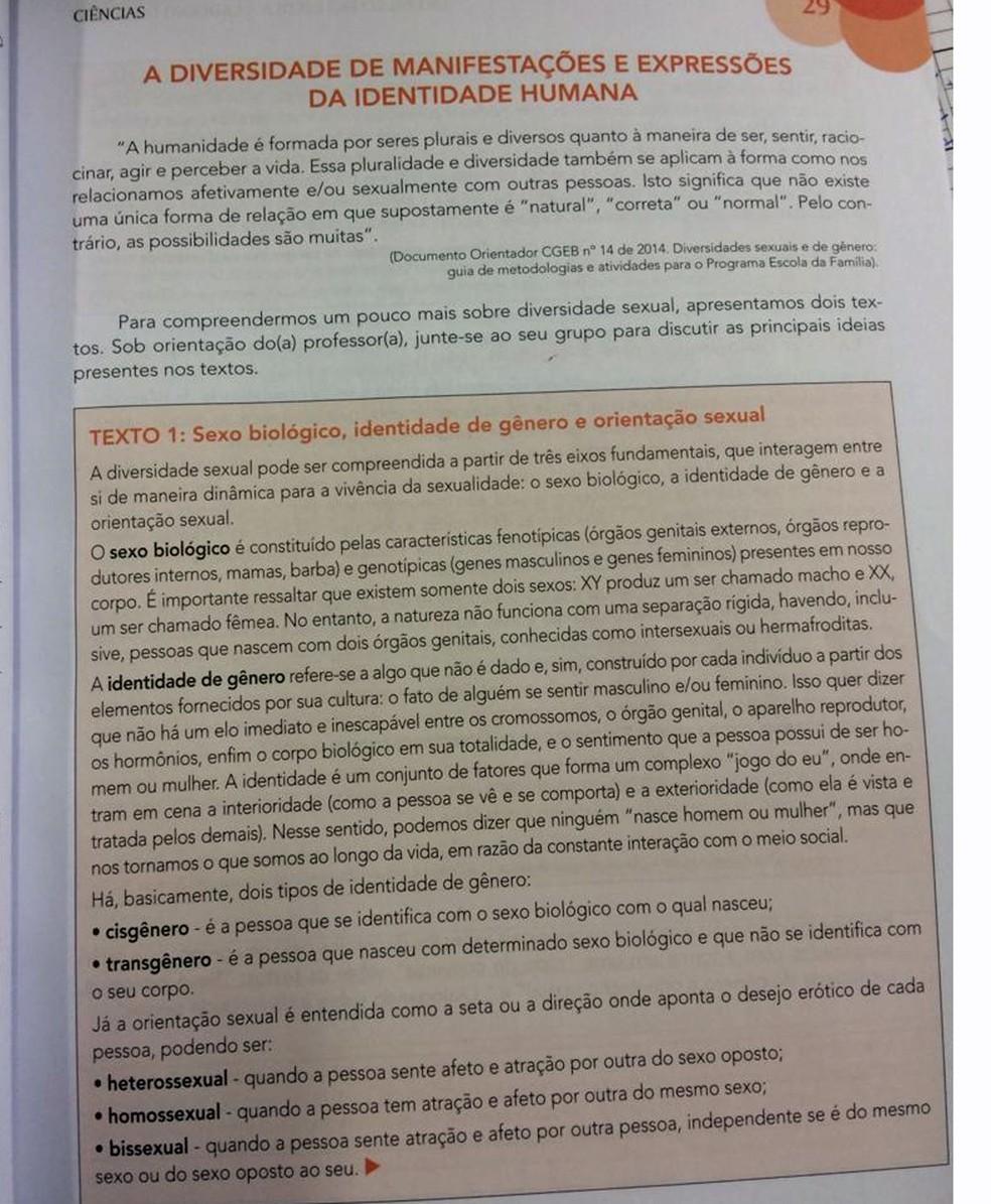 Texto contido no livro recolhido pelo governo de São Paulo — Foto: Reprodução