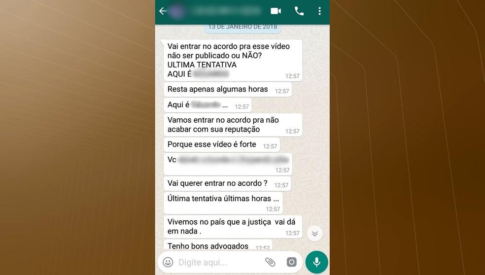 Suspeito usou aplicativo de celular para fazer ameaças à vítima (Foto: Reprodução/TV Cabo Branco)