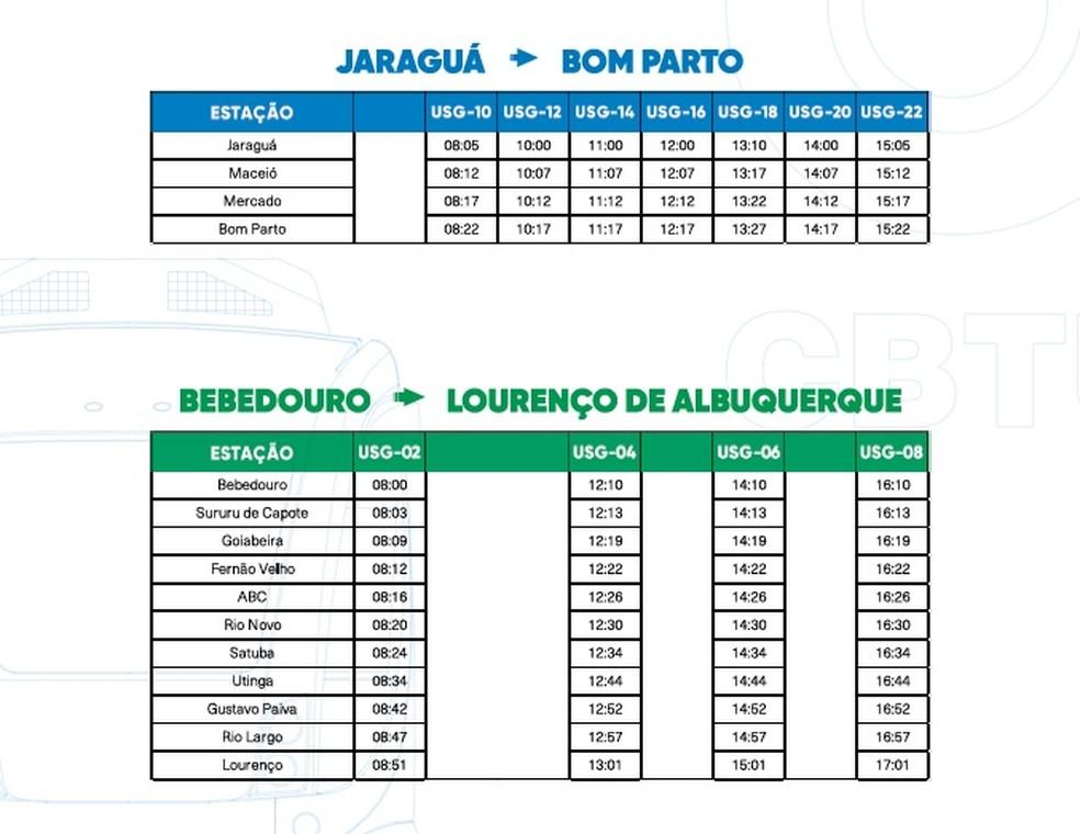 Horários de trens e VLTs partindo de Jaraguá e de Bebedouro, aos sábados — Foto: Reprodução