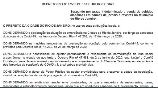 Prefeitura do Rio determina suspensão da venda de bebidas alcoólicas em bancas de jornais