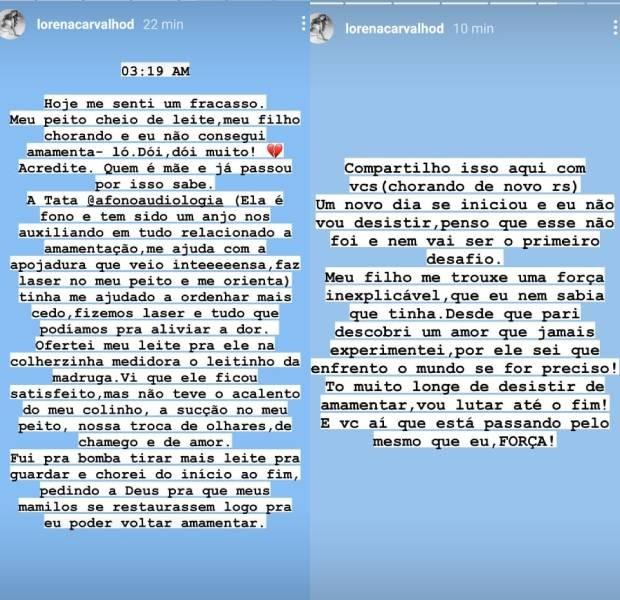 Lorena Carvalho desabafa (Foto: Reprodução/Instagram)