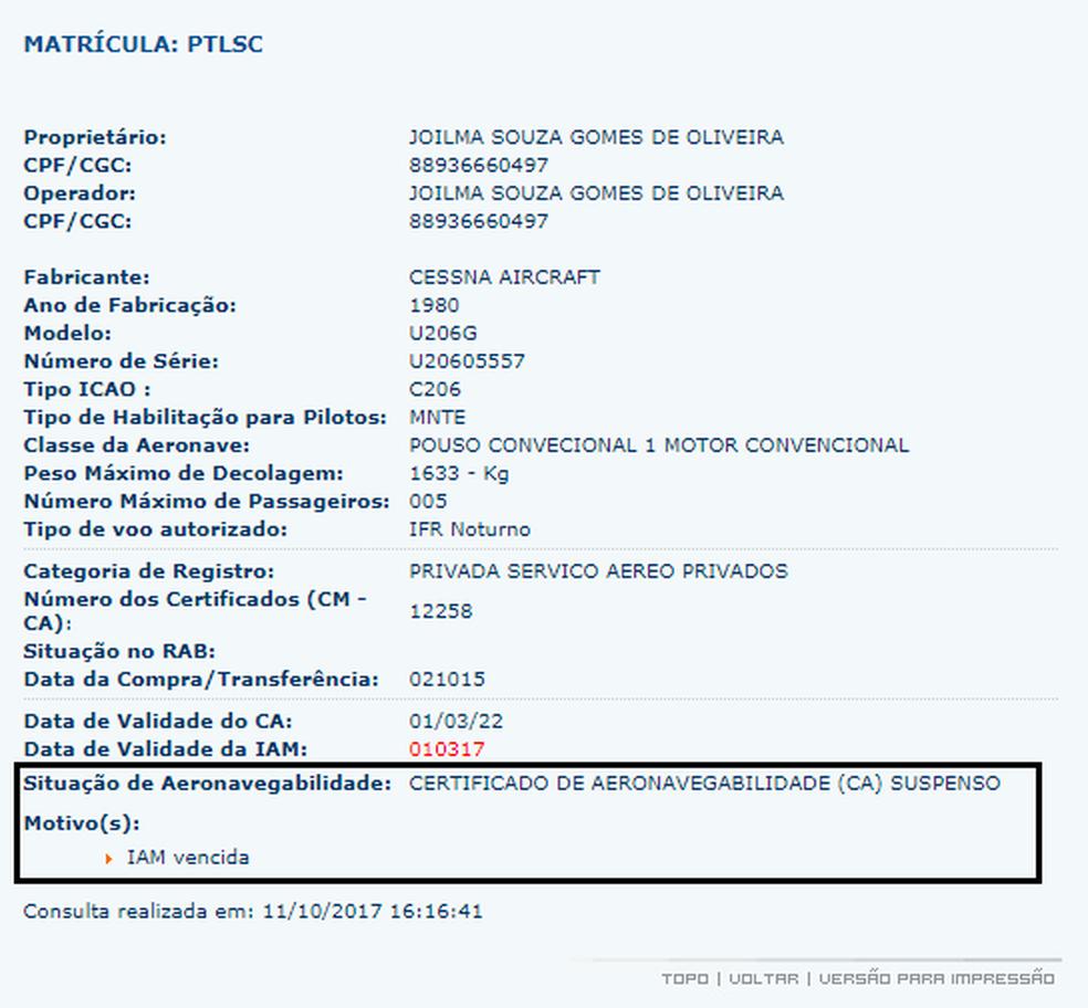 Avião que caiu em garimpo no Pará estava com licença vencida (Foto: Reprodução)
