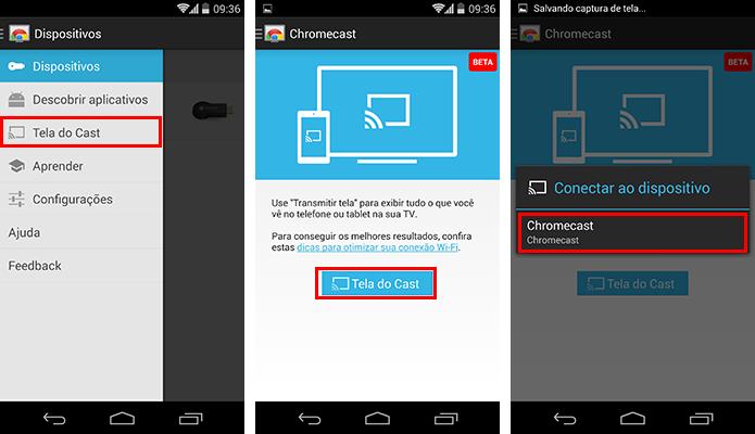 Para transmitir, basta escolher a opção correta no menu do app (Foto: Reprodução/Paulo Alves)
