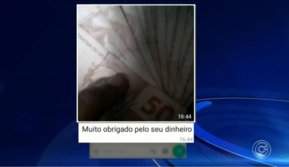 Golpistas responderam vítima de Sorocaba com mensagem — Foto: Reprodução/TV TEM