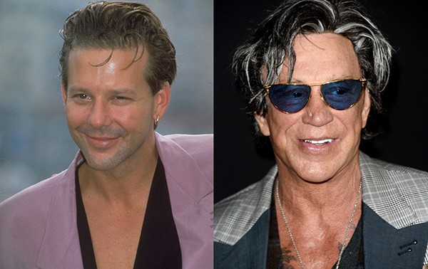 Mickey Rourke em 1989 e em 2016 (Foto: Getty Images)