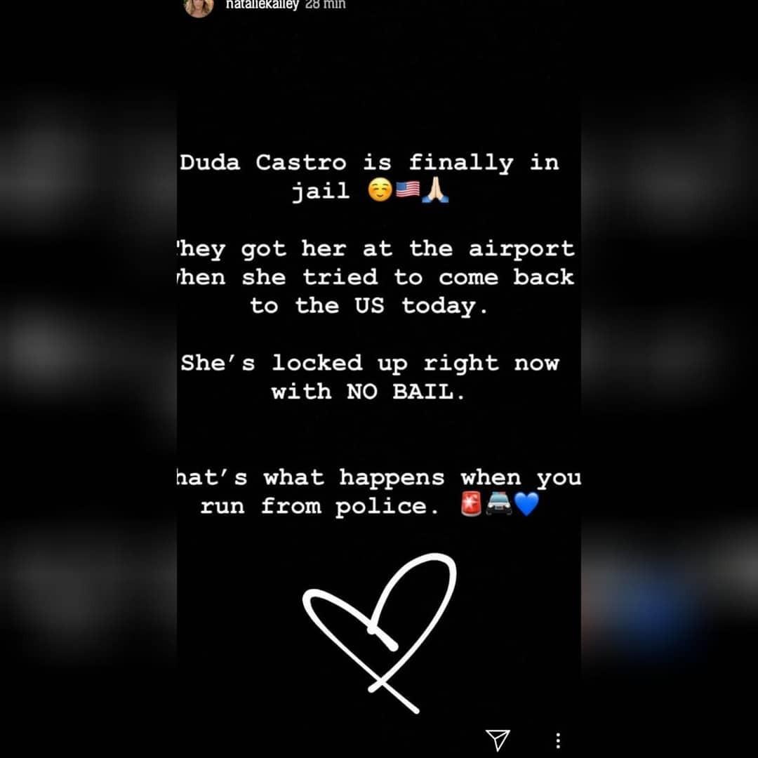 Natalie Kailey postou mensagem sobre prisão de Duda Castro (Foto: Reprodução / Instagram)