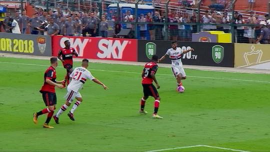 Jogadores do São Paulo lamentam chances perdidas contra o Flamengo