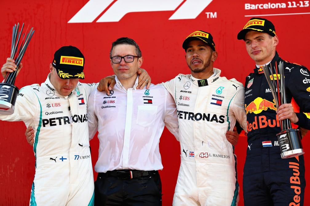 Hamilton, Bottas e Verstappen, os três primeiros na Espanha (Foto: Reuters)