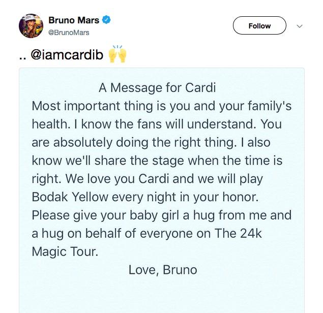 O post de Bruno Mars em resposta à ausência de Cardi B de sua turnê (Foto: Twitter)