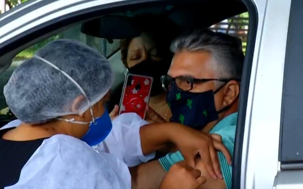 Vacinação em Goiânia contra Covid-19 — Foto: Reprodução/TV Anhanguera