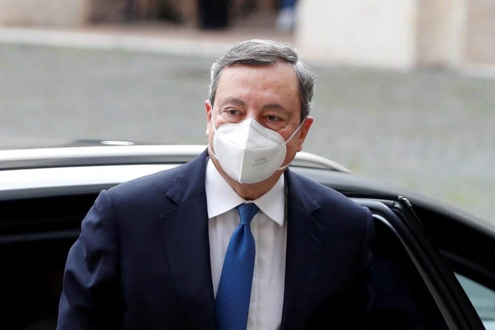 Mario Draghi em 3 de fevereiro de 2021 — Foto: Yara Nardi/Reuters