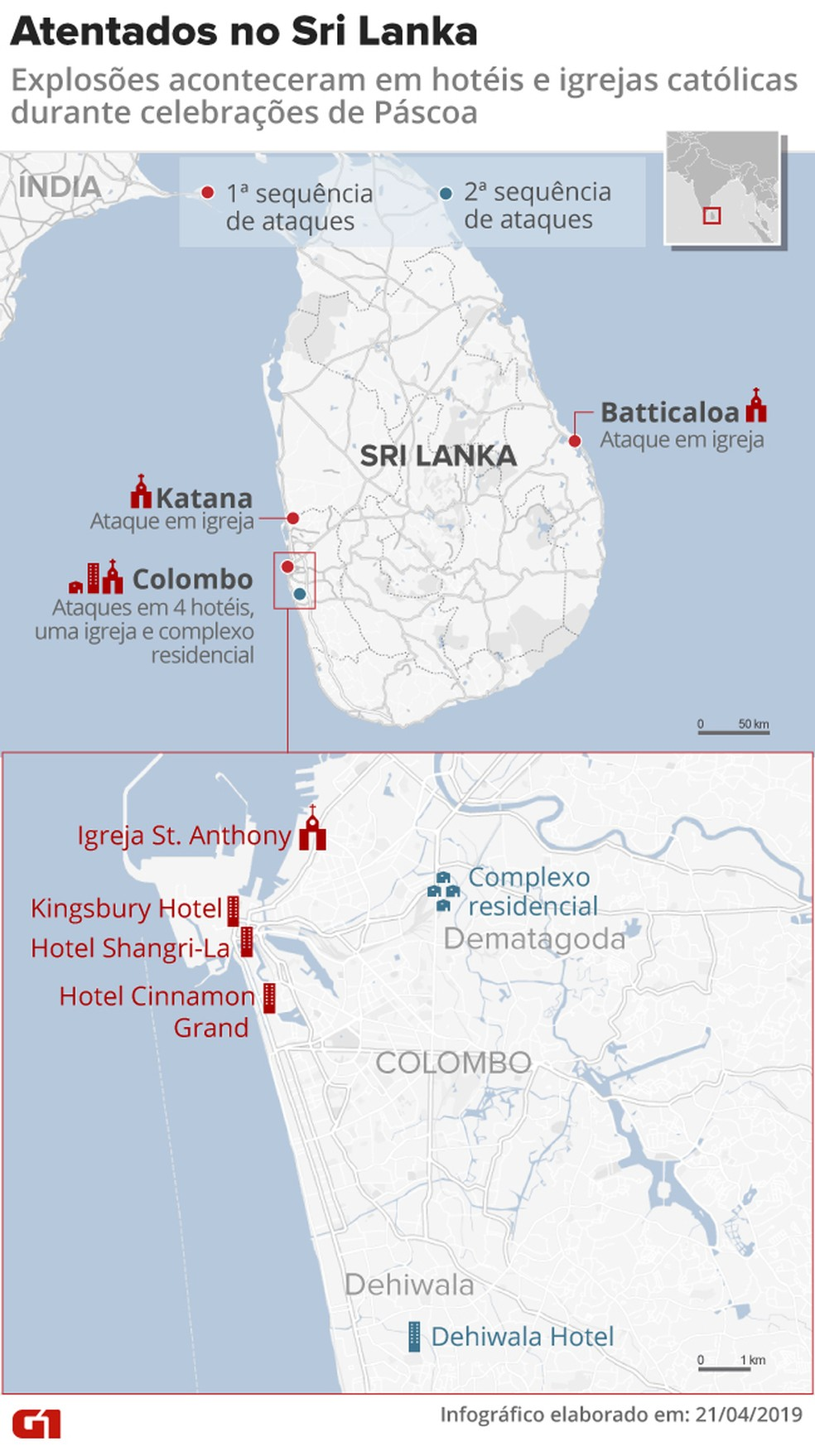 Ataques conta 4 hotéis, três igrejas e um complexo residencial no Sri Lanka — Foto: Rodrigo Cunha/G1