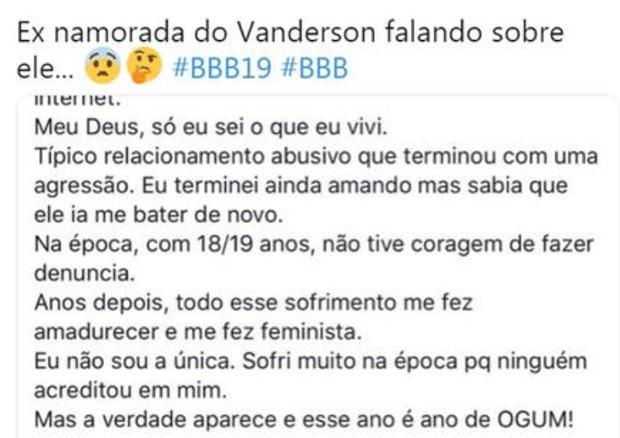 Post da ex de Vanderson (Foto: Reprodução/Twitter)