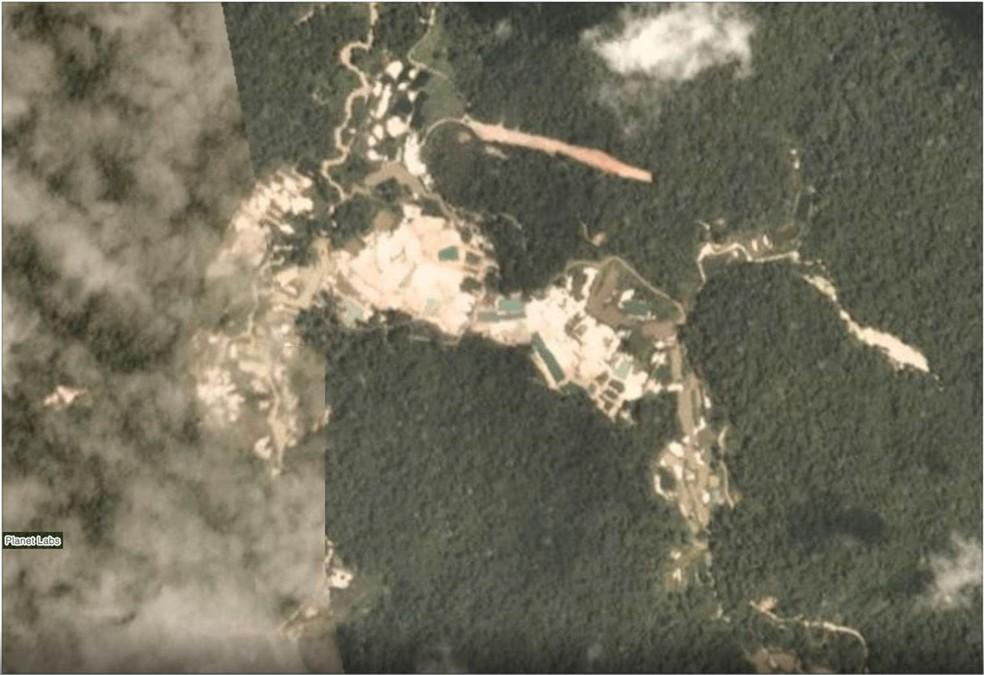 Avanço do garimpo ilegal na terra indígena Munduruku em fevereiro de 2019 — Foto: Planet Labs
