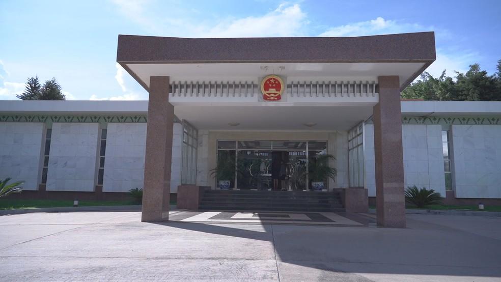 Embaixada da China em Brasília — Foto: TV Globo/Reprodução