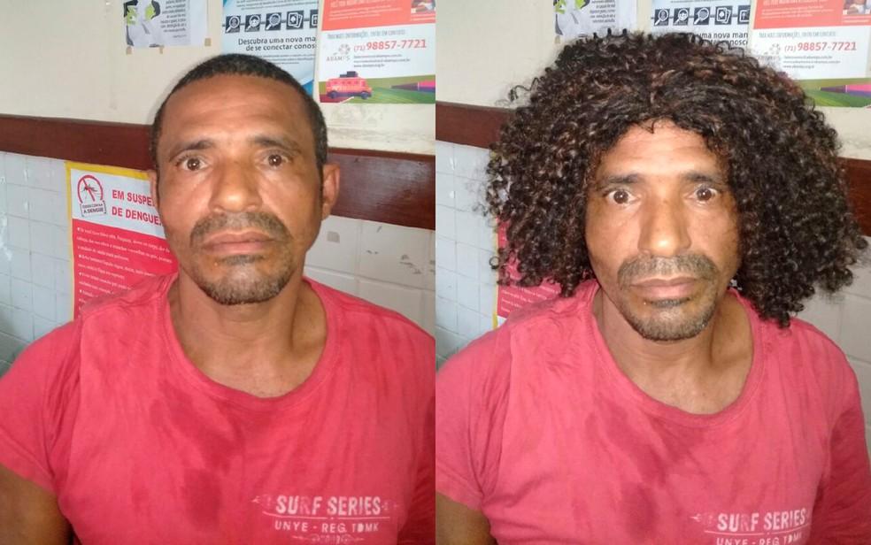 Homem foi preso em flagrante em Salvador ao tentar assaltar mulheres usando peruca e arma falsa (Foto: Divulgação/SSP-BA)